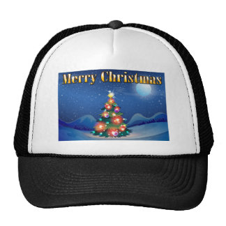 A sparkling christmas tree in the middle of the ni trucker hat