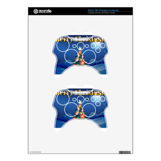 A sparkling christmas tree in the middle of the ni xbox 360 controller skin