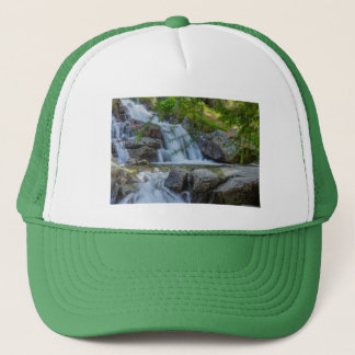 a sparkling jump of a waterfall  on  trucker hat