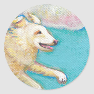 A Special Little Girl - fun flying dog cat art Classic Round Sticker
