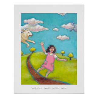 A Special Little Girl - fun flying dog cat art Poster