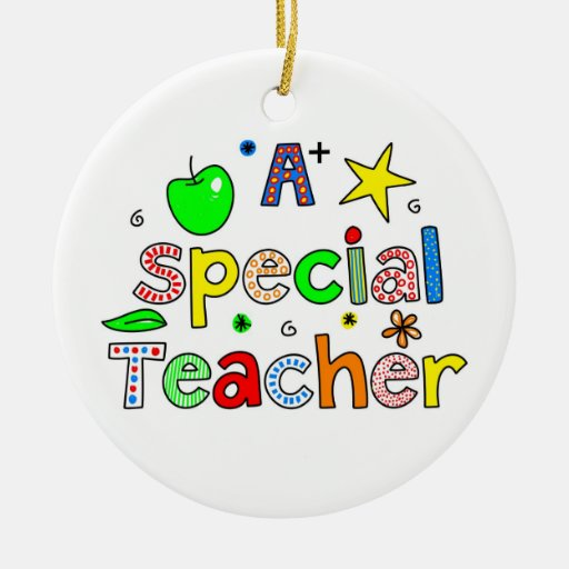 A Special Teacher Double-Sided Ceramic Round Christmas Ornament