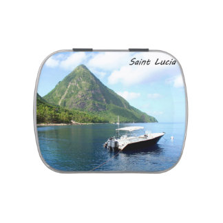 A speedboat in front of the Pitons in Saint Lucia Jelly Belly Candy Tins