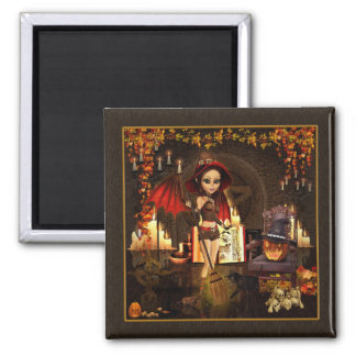 A Spell or Two Magical Witch Square Magnet
