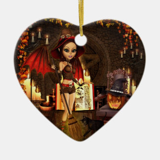 A Spell or Two Witch Ceramic Heart Ornament