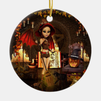 A Spell or Two Witch Round Ceramic Ornament