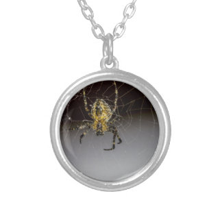 A Spider And His Web Up Close Silver Plated Necklace