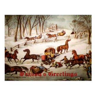 A Spill Out on the Snow Christmas Card Postcard