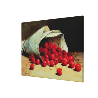 A spilled bag of cherries stretched canvas print