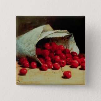A spilled bag of cherries pinback button