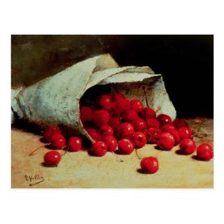 A spilled bag of cherries postcard