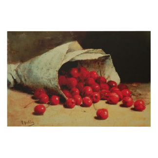 A spilled bag of cherries wood wall art
