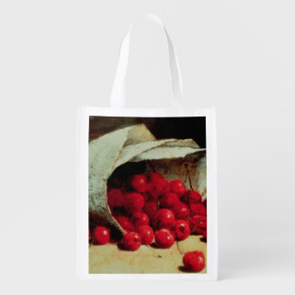 A spilled bag of cherries reusable grocery bag