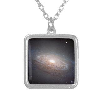 A spiral galaxy in Leo Square Pendant Necklace