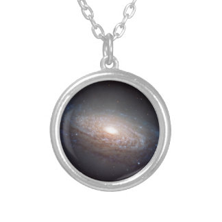 A spiral galaxy in Leo Round Pendant Necklace