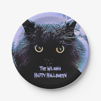 A Spooky Black Cat with Glowing Eyes Paper Plate