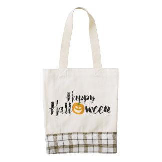 A spooky Happy Halloween Text with pumpkin Custom Zazzle HEART Tote Bag