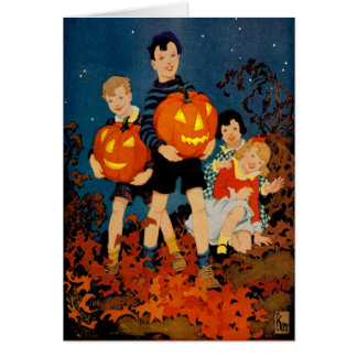 """""""A SPOOKY NIGHT SHOW""""VINTAGE HALLOWEEN GREETING CARD"""