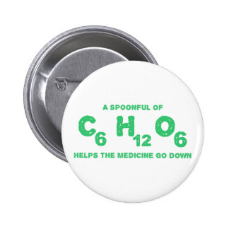 A Spoonful of C6H12O6 Helps the Medicine Go Down 2 Inch Round Button