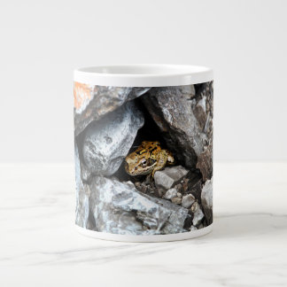 A spotted Frog hides among the rocks in a yard Large Coffee Mug