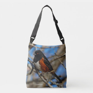 A Spotted Towhee in a Tree Crossbody Bag