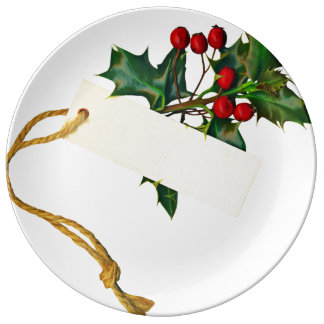 A Sprig Of Holly With A Note Porcelain Plate