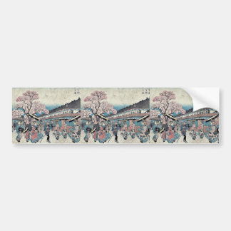 A spring scene of Nakanocho by Ando,Hiroshige Car Bumper Sticker