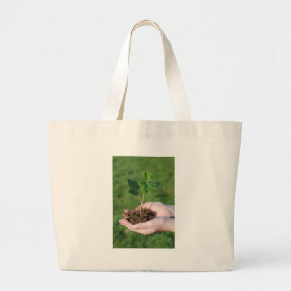 A sprout on a hand large tote bag
