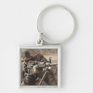 A squad automatic weapon gunner provides securi keychain