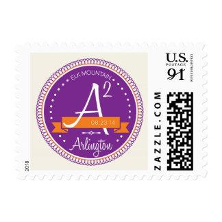 A squared monogram postage stamp