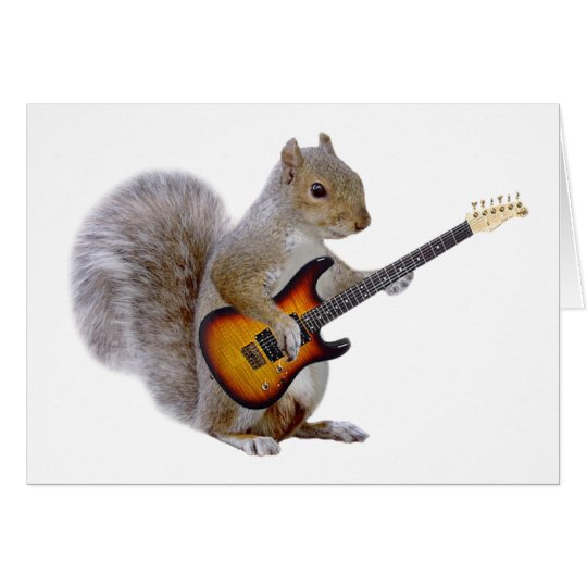A Squirrel Playing Guitar Card