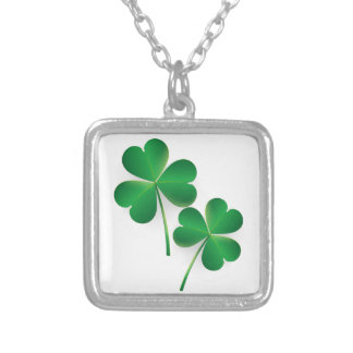 A St. Patrick's Day Green Shamrock Silver Plated Necklace