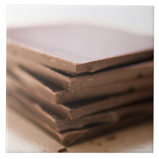 A stack of baker's chocolate ready to be chopped tile