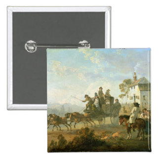 A Stage Coach on a Country Road, 1792 (oil on pane 2 Inch Square Button