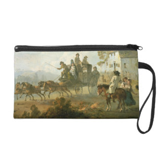 A Stage Coach on a Country Road, 1792 (oil on pane Wristlet Purses