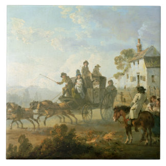 A Stage Coach on a Country Road, 1792 (oil on pane Ceramic Tile