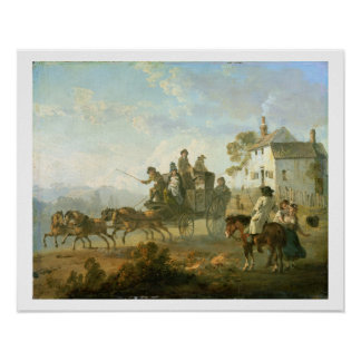 A Stage Coach on a Country Road, 1792 (oil on pane Poster