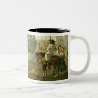 A Stage Coach on a Country Road, 1792 (oil on pane Two-Tone Coffee Mug