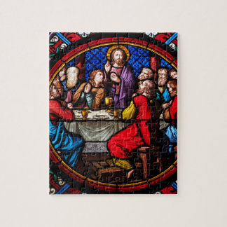 A stained glass image of the last supper jigsaw puzzles