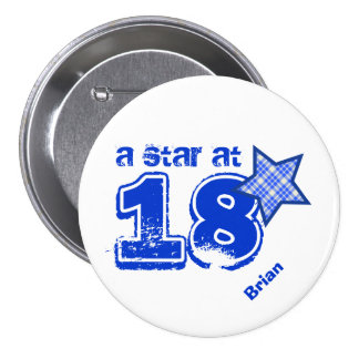 A Star at 18 BLUE PLAID Birthday Gift Collection Pins