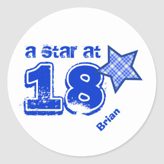 A Star at 18 BLUE PLAID Birthday Gift Collection Sticker