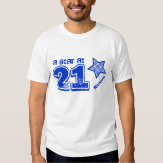 A Star at 21 BLUE PLAID Birthday Gift Collection Shirt