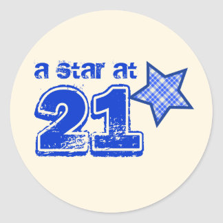 A Star at 21 BLUE PLAID Birthday Gift Collection Stickers