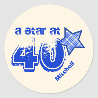 A Star at 40 BLUE PLAID Birthday Gift Collection Round Sticker