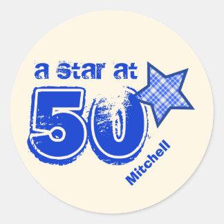 A Star at Fifty BLUE PLAID Birthday Gift V01 Round Sticker