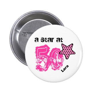 A Star at Fifty PINK DOTS Birthday Gift V04 Pinback Button