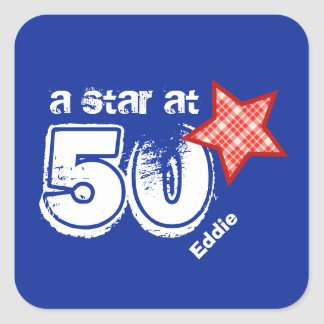A Star at Fifty RED PLAID Birthday Gift V01 Sticker