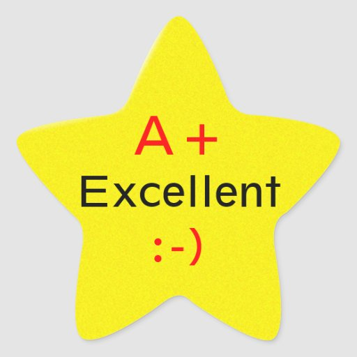A Star For Excellence Star Sticker