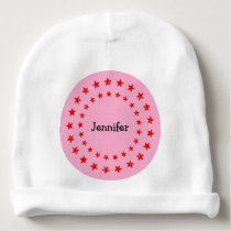 A Star Has Arrived Red Stars Pink Baby Girl Name Baby Beanie