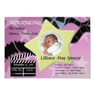 A Star is Born/ Pink 5x7 Paper Invitation Card
